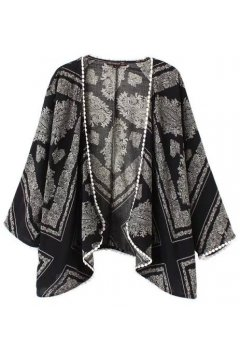 Black White Retro Vintage Pattern Bat Wing Sleeves Loose Fit Chiffon Kimono Cardigan