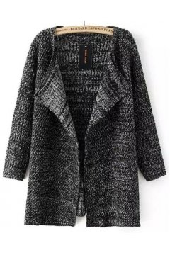 Grey Black Long Sleeves Knit Coat Cardigan Jacket