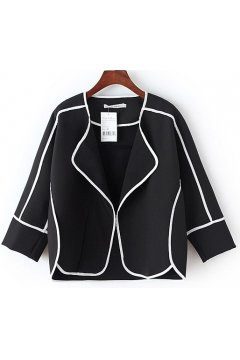 Black White Cropped Long Sleeves Blazer Jacket