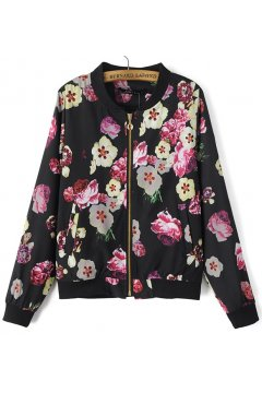 Black Purple Flowers Florals Baseball Aviator Bomber Rider Jacket