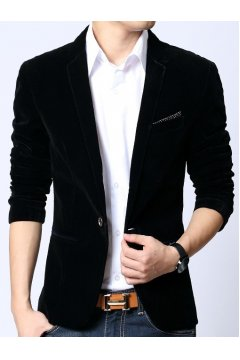Black Velvet Mens Dapper Man Long Sleeves Blazer Jacket