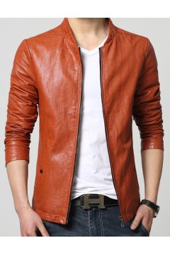 ​Orange Brown Faux Leather PU Mens Rider Aviator Baseball Cropped Coat Jacket