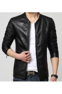 ​Black Faux Leather PU Mens Rider Aviator Baseball Cropped Coat Jacket