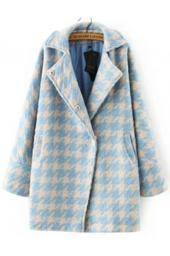 Pastel Baby Blue Pink Houndstooth Checkers Long Sleeves Woolen Jacket Blazer Coat
