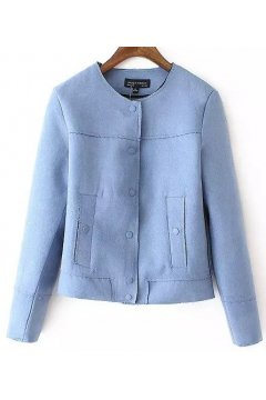 Blue Suede Cropped Faux Leather PU Rider Blazer Jacket
