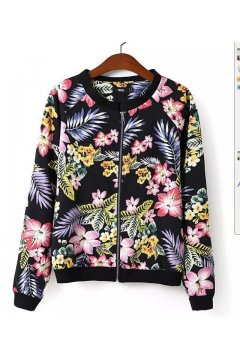 Black Colorful Flowers Florals Baseball Aviator Bomber Rider Jacket
