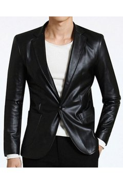 Black Green Faux Leather PU Mens Dapper Man Long Sleeves Blazer Jacket