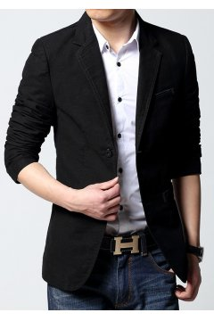 Black Canvas Casual Mens Dapper Man Long Sleeves Blazer Jacket