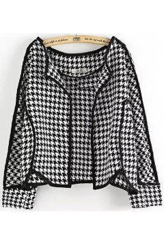 Black White Checkers Houndstooth Cropped Long Sleeves Blazer Jacket
