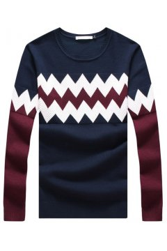 Burgundy Blue Zig Zag Long Sleeves Men Knit Long Sleeves Sweater
