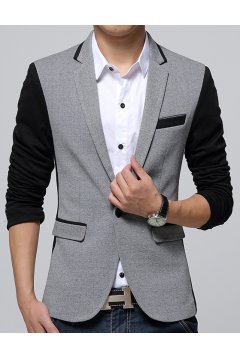 Grey Black Casual Mens Dapper Man Long Sleeves Blazer Jacket