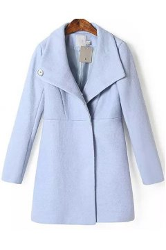 Pastel Baby Blue Long Sleeves Woolen Jacket Blazer Coat
