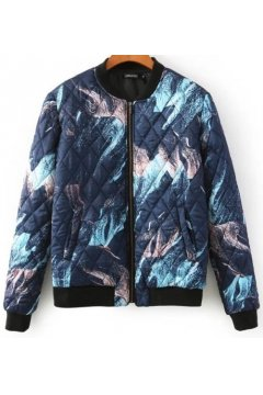 Blue Abstract Painting Pattern Quilted Baseball Aviator Bomber Rider Jacket