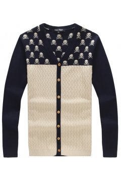 Skulls Punk Rock Blue Long Sleeves Men Knot Long Sleeves Sweater Cardigan
