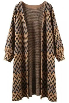 Brown ZigZag Tribal Ethnic Pattern Long Sleeves Knee Length Blouse Cardigan