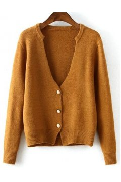 Red Grey Camel Brown Classic Knit Long Sleeves Cardigan