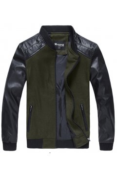 Black Green Khaki Faux Leather PU Mens Aviator Rider Baseball Jacket Cardigan Coat