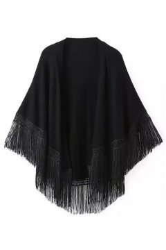 Black Bat Wing Sleeves Loose Fit Tassels Knit Kimono Cardigan