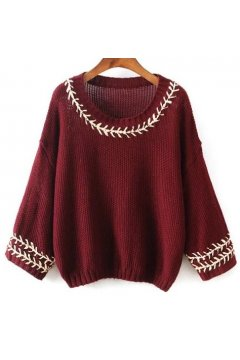 Burgundy White Blue Batwing Sleeves Loose Fit Sweater