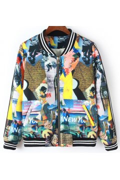 Blue Abstract Colorful Painting Pattern Baseball Aviator Bomber Rider Jacket