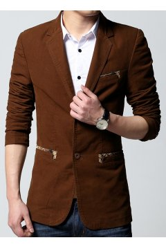 ​​Brown Canvas Casual Mens Dapper Man Long Sleeves Blazer Jacket