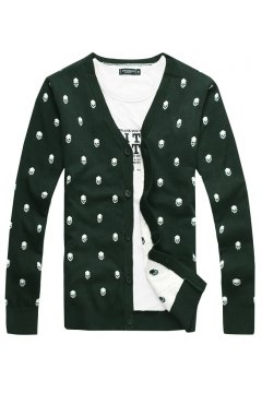 Green Black Skulls Monogram Punk Rock Long Sleeves Men Knit Long Sleeves Sweater Cardigan