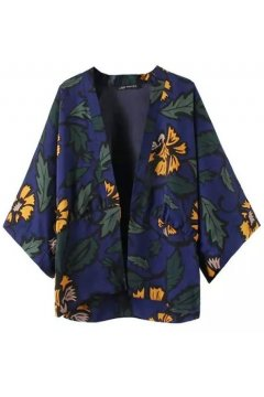 Blue Yellow Flowers Vintage Retro Bat Wing Sleeves Loose Fit Kimono Cardigan