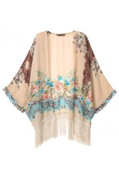 White Red Roses Retro Vintage Pattern Tassels Bat Wing Sleeves Loose Fit Kimono Cardigan