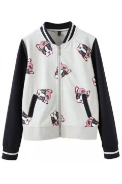 Black White Bulldogs Cartoon Baseball Aviator Bomber Rider Jacket​