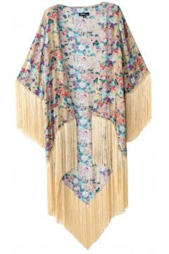 ​Cream Vintage Roses Loose Fit Bat Wing Knee Length Long Tassels Kimono Cardigan