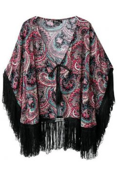 ​Purple Paisley Black Long Tassels Bat Wing Sleeves Loose Fit Kimono Cardigan