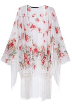 White Painting Roses Flowers Tassels Bat Wing Sleeves Loose Fit Kimono Cardigan