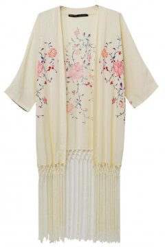 ​Cream Long Tassels Floral Bat Wing Sleeves Loose Fit Chiffon Kimono Cardigan