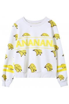 ​White Yellow Bananas Monogram Long Sleeves Sweatshirt Sweater