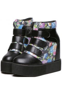Black Leather Multi Straps Roses Flower Print Ankle Women Boots Platforms Shoes