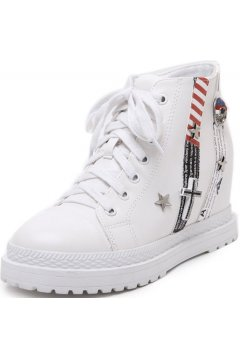 White Leather Lace up Hidden Wedges Stripes Skull Cross Punk Rock Women Boots Sneakers Platforms