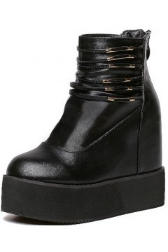 Black Leather Punk Rock Hidden Wedges Thick Sole Military Platforms Women Boots Shoes