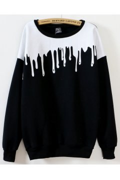 Black White Splash Ink Long Sleeves Sweater Sweatshirt