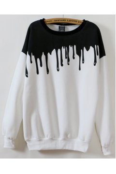 White Black Splash Ink Long Sleeves Sweater Sweatshirt
