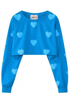 ​Blue Heart Monogram Long Sleeves Cropped Sweater Sweatshirt