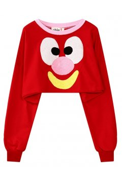 ​Red Cartoon Clown  Long Sleeves Cropped Sweater Sweatshirt