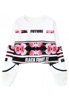 White Future Roses Long Sleeves Cropped Sweatshirt Sweater