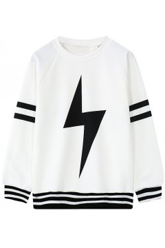 White Black Giant Thunder Long Sleeves Sweater Sweatshirt