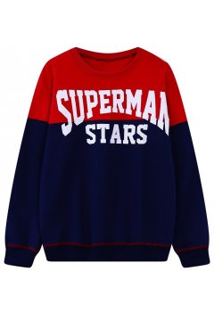 Red Blue Superman Stars Long Sleeves Sweater Sweatshirt