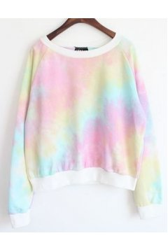 White Gradual Rainbow Pastel Color Long Sleeves Sweater Sweatshirt