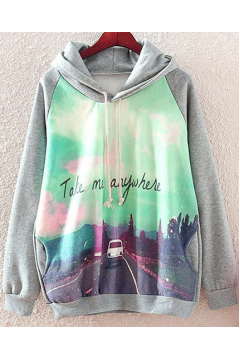 Grey Take Me Anywhere Scenery Hooded Hoodie Long Sleeves Sweater Sweatshirt