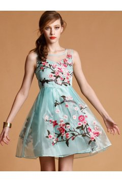 Blue Beige Black Embroidery Retro Organza A Line Sleeveless Cocktail Dress Skirt