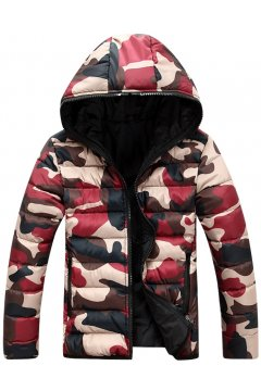 Camouflage Army Military Pattern Black Reversible Hooded Hoodie Bomber Aviator Rider Jacket