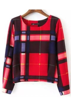 ​Red Tartan Scotland Checkers Plaid Long Sleeves Sweater Sweatshirt