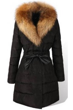 ​Black Red Fur Removable Collar Long Knee Lapel Parka Down Jacket Coat
